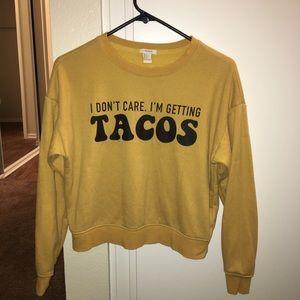 """Yellow """"idk im getting 🌮🌮"""" sweatshirt"""